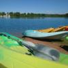 group of kayaks on the beach